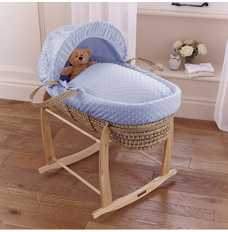 Clair De Lune Palm Moses Basket & Deluxe Rocking Stand - Dimple Blue