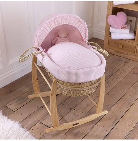 Clair De Lune Palm Moses Basket & Deluxe Rocking Stand - Waffle Pink