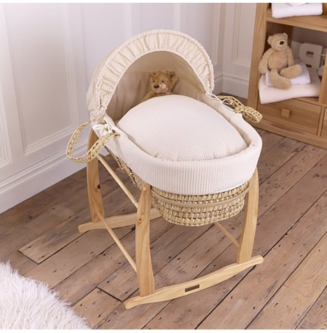 Clair De Lune Palm Moses Basket & Deluxe Rocking Stand - Waffle Cream
