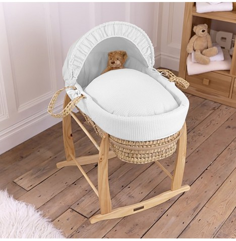Clair De Lune Palm Moses Basket & Deluxe Rocking Stand - Waffle White