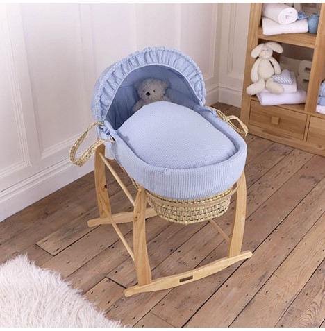 Clair De Lune Palm Moses Basket & Deluxe Rocking Stand - Waffle Blue