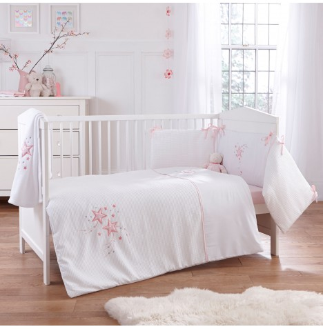 4baby Cot / Cot Bed Quilt & Bumper Set - Twinkle Pink