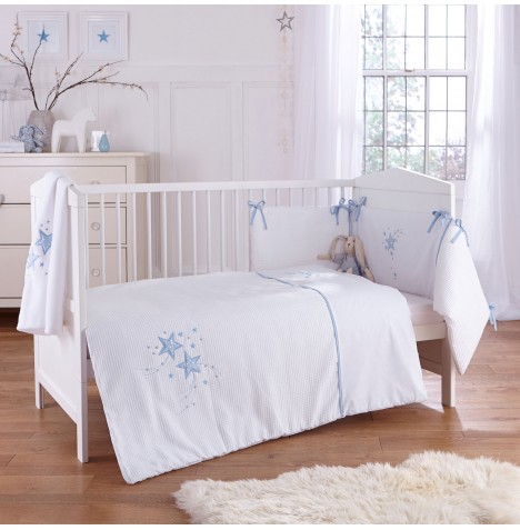 4baby Cot / Cot Bed Quilt & Bumper Set - Twinkle Blue
