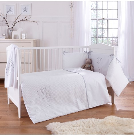 4baby Cot / Cot Bed Quilt & Bumper Set - Twinkle White