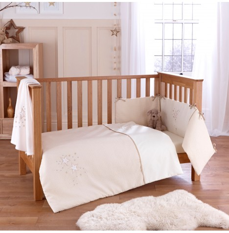4baby Cot / Cot Bed Quilt & Bumper Set - Twinkle Cream