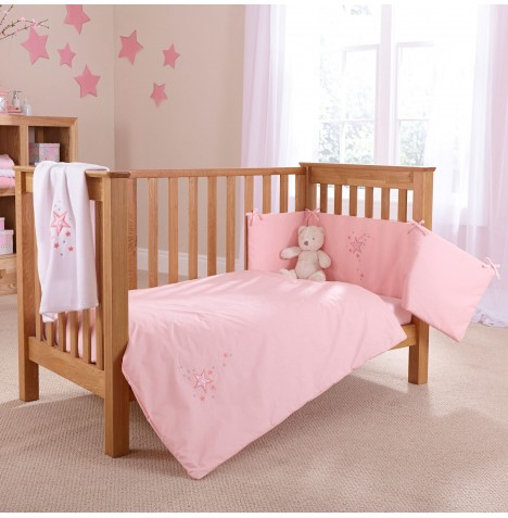 4baby Cot / Cot Bed Quilt & Bumper Set - Shooting Star Pink
