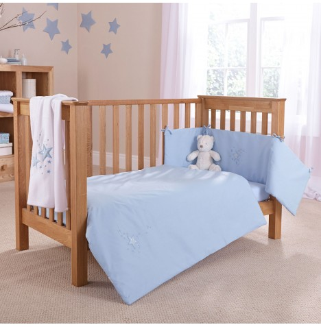4baby Cot / Cot Bed Quilt & Bumper Set - Shooting Star Blue