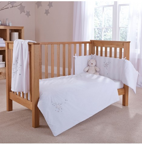 4baby Cot / Cot Bed Quilt & Bumper Set - Shooting Star White