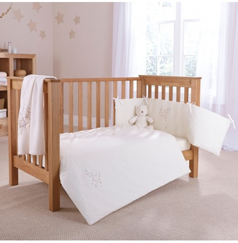 4baby Cot / Cot Bed Quilt & Bumper Set - Shooting Star Cream