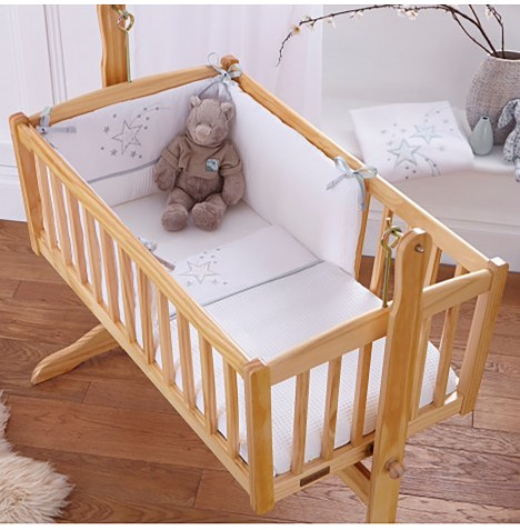 4baby Crib Quilt & Bumper Set - Twinkle White