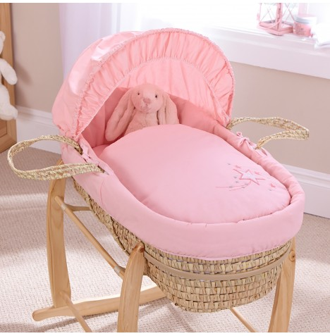 4baby Deluxe Palm Moses Basket - Shooting Star Pink