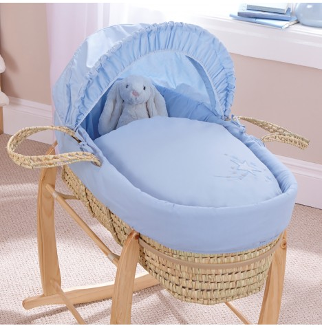 4baby Deluxe Palm Moses Basket - Shooting Star Blue