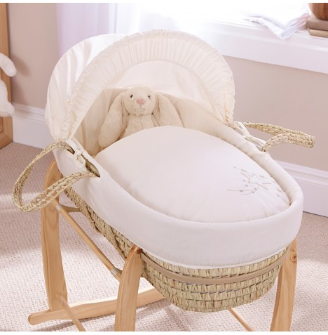 4baby Deluxe Palm Moses Basket - Shooting Star Cream
