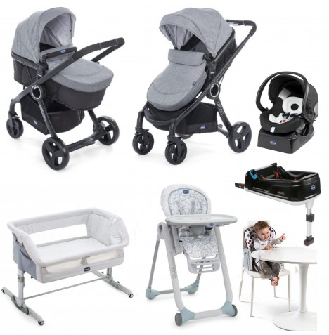 Chicco 4 Piece Urban Plus Travel System Everything You Need Bundle - Legend