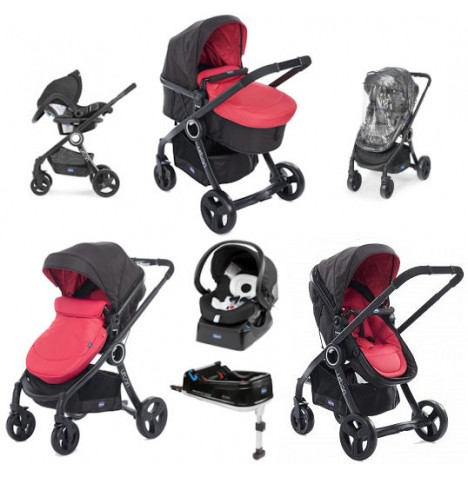 Chicco Show Offer - Urban Plus Travel System and IsoFix Base Bundle 5 - Red Passion