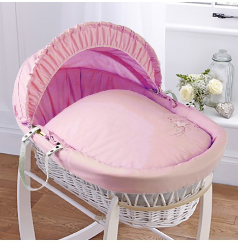 4baby Padded White Wicker Moses Basket - Shooting Star Pink