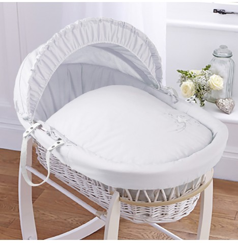 4baby Padded White Wicker Moses Basket - Shooting Star White
