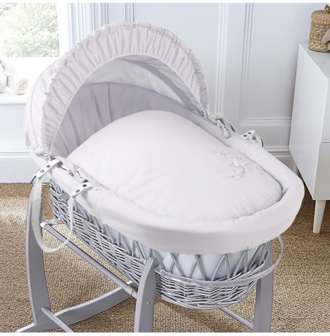 4baby Padded Grey Wicker Moses Basket - Shooting Star White
