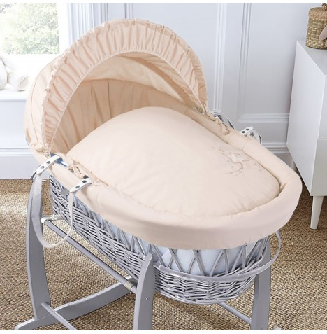 4baby Padded Grey Wicker Moses Basket - Shooting Star Cream