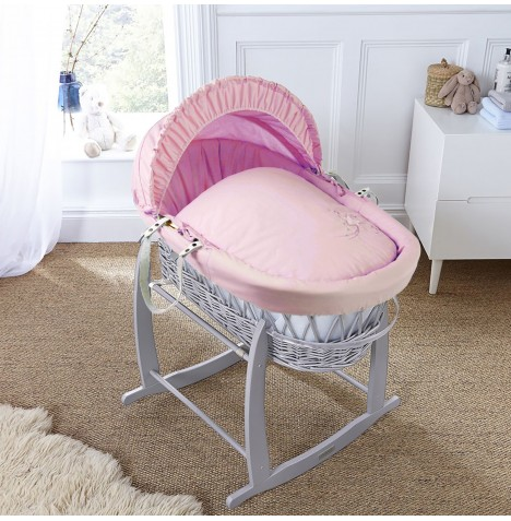 4baby Padded Grey Wicker Moses Basket & Deluxe Rocking Stand - Shooting Star Pink