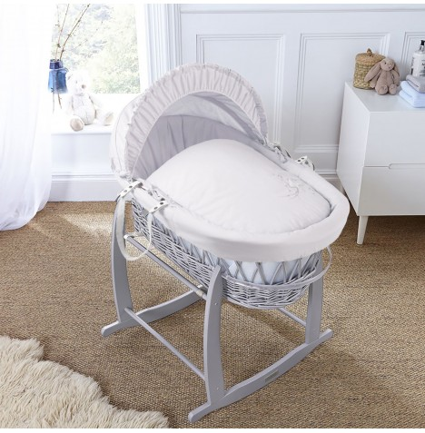 4baby Padded Grey Wicker Moses Basket & Deluxe Rocking Stand - Shooting Star White