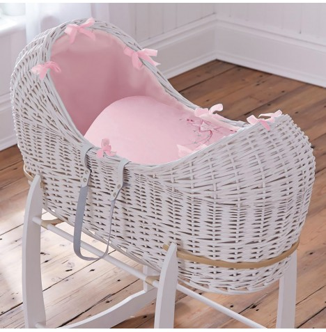 4baby White Wicker Noah Pod - Shooting Star Pink
