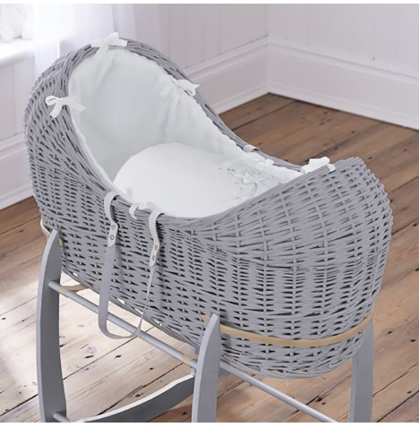 4baby Grey Wicker Noah Pod - Shooting Star White