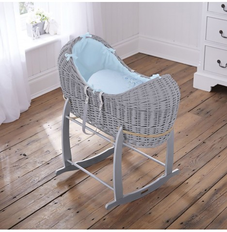 4baby Grey Wicker Noah Pod & Deluxe Rocking Stand - Shooting Star Blue