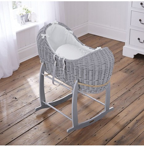 4baby Grey Wicker Noah Pod & Deluxe Rocking Stand - Shooting Star White