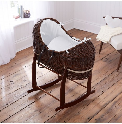 4baby Dark Wicker Noah Pod & Deluxe Rocking Stand - Shooting Star White