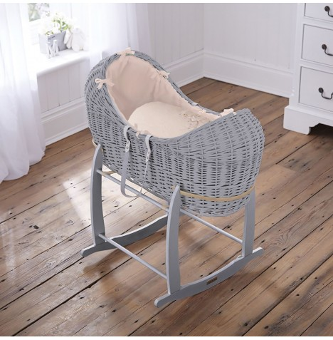 4baby Grey Wicker Noah Pod & Deluxe Rocking Stand - Shooting Star Cream