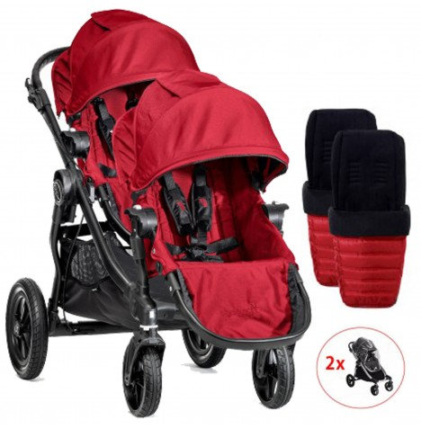 Baby Jogger City Select Tandem Pushchair With Footmuffs & Raincovers - Red