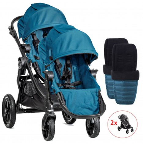 Baby Jogger City Select Tandem Pushchair With Footmuffs & Raincovers - Teal