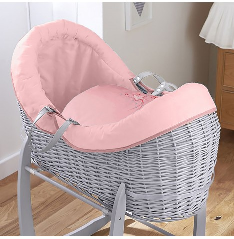 4baby Grey Wicker Crossover Noah Pod - Shooting Star Pink