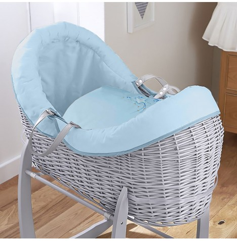4baby Grey Wicker Crossover Noah Pod - Shooting Star Blue