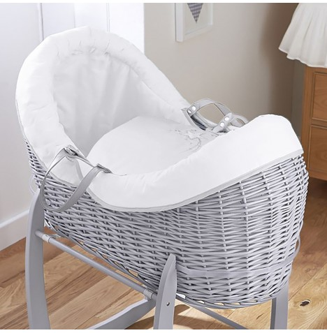 4baby Grey Wicker Crossover Noah Pod - Shooting Star White