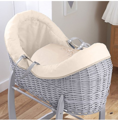 4baby Grey Wicker Crossover Noah Pod - Shooting Star Cream