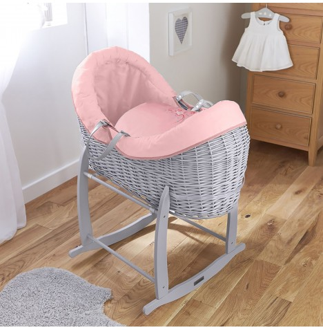4baby Grey Wicker Crossover Noah Pod & Deluxe Rocking Stand - Shooting Star Pink