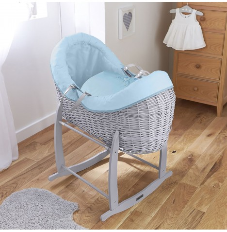 4baby Grey Wicker Crossover Noah Pod & Deluxe Rocking Stand - Shooting Star Blue
