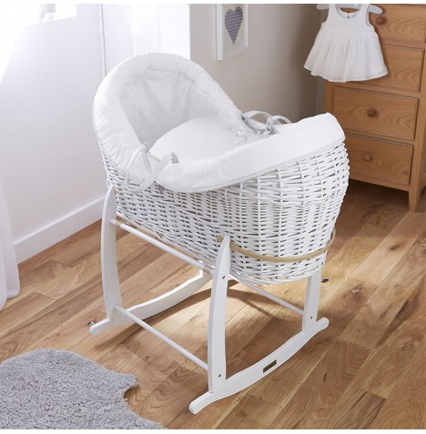4baby White Wicker Crossover Noah Pod & Deluxe Rocking Stand - Shooting Star White