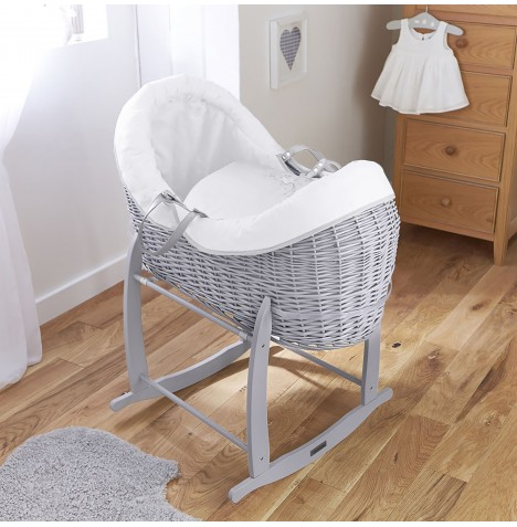 4baby Grey Wicker Crossover Noah Pod & Deluxe Rocking Stand - Shooting Star White
