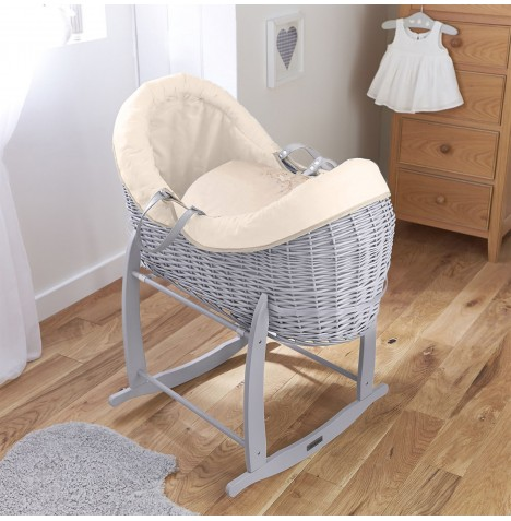 4baby Grey Wicker Crossover Noah Pod & Deluxe Rocking Stand - Shooting Star Cream