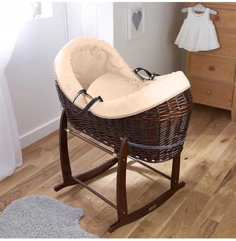 4baby Dark Wicker Crossover Noah Pod & Deluxe Rocking Stand - Shooting Star Cream