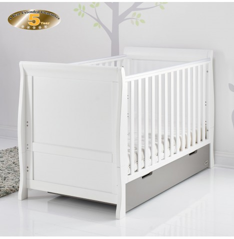 Obaby Stamford Classic Sleigh Cot Bed - White / Taupe Grey