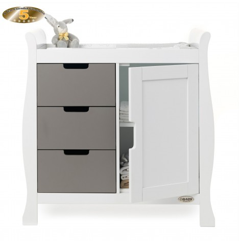Obaby Closed Stamford Changing Unit - White / Taupe Grey