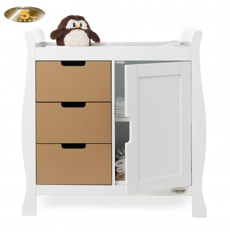 Obaby Closed Stamford Changing Unit - White / Iced Coffee