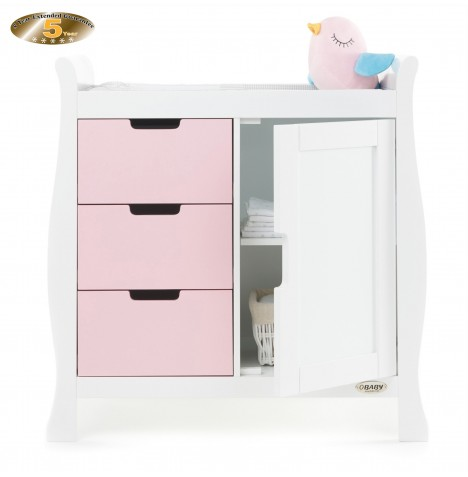 Obaby Closed Stamford Changing Unit - White / Eton Mess
