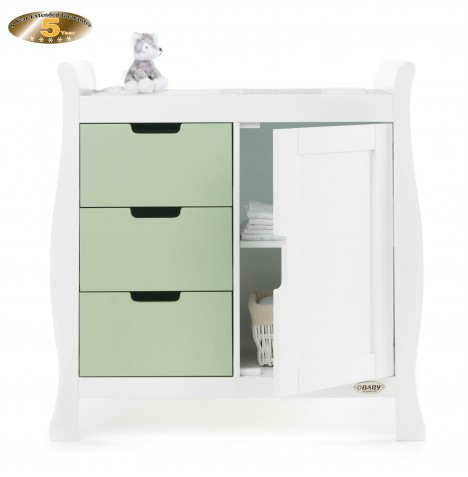 Obaby Closed Stamford Changing Unit - White / Pistachio