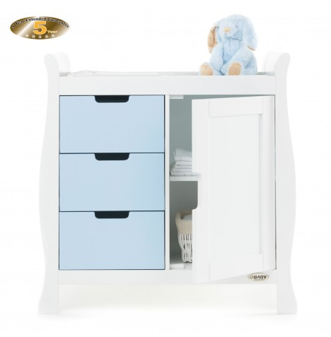 Obaby Closed Stamford Changing Unit - White / Bonbon Blue