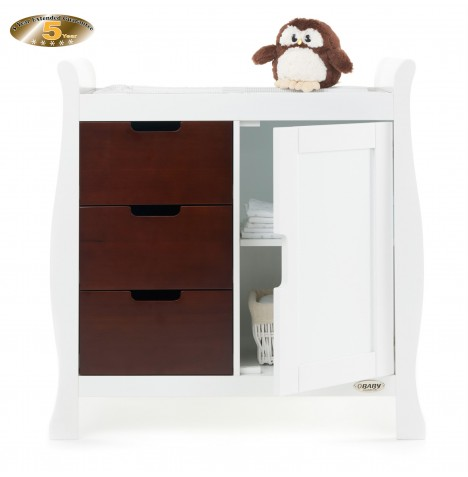 Obaby Closed Stamford Changing Unit - White / Walnut